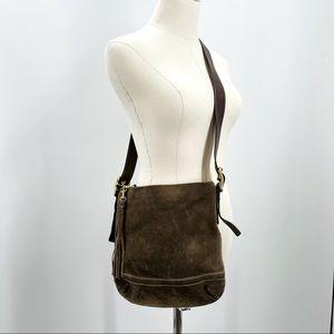 Coach Swing back convertible 1419 tan suede purse